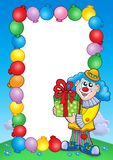 Party invitation frame with clown 5. Color illustration Royalty Free Stock Photo