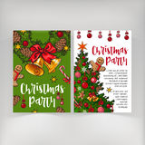 Party invitation, greeting card, poster, banner template with Christmas attributes Stock Photography