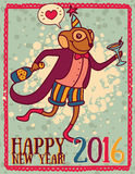 Party invitation for happy new year with monkey Stock Photography