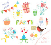 Party invitation for kids design elements Royalty Free Stock Photo