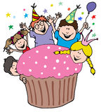 Party Invitation From Kids With a Giant Cupcake. Cartoon Illustration of a Party Invitation From Kids With a Giant Cupcake Stock Photo