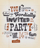 Party Invitation Poster On School Paper. Illustration of a fun party invitation poster, with crafted hand lettering text, on a grungy school paper background for Royalty Free Stock Photo