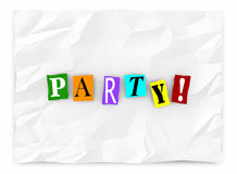 Party Invitation Ransom Note Cutout Letters Words Stock Photos