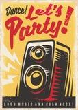 Party invitation retro poster design stock illustration