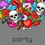 Party invitation with retro tattoo symbols. Cartoon old school illustration Royalty Free Stock Image
