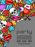 Party invitation with retro tattoo symbols. Cartoon old school illustration Royalty Free Stock Photography