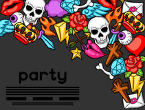 Party invitation with retro tattoo symbols. Cartoon old school illustration Royalty Free Stock Photo