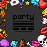 Party invitation with retro tattoo symbols. Cartoon old school illustration Royalty Free Stock Image