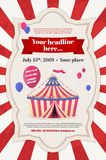 Party invitation template with circus tent and flying balloons. Abstract striped circus tent and flying balloons in retro frame and place for your text - party vector illustration