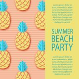 Party invitation. Tropical paper pineapple. Summer exotic jungle. Fruit pattern, striped background. Minimal, paper cut style. Pastel colors vector illustration