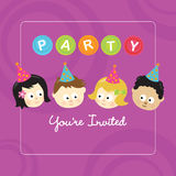 Party invitation w/ kids. Party invitation with children of different nationalities stock illustration