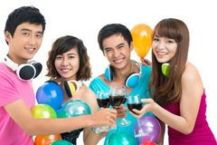 At the party. Isolated image of happy friends gathering together at the party royalty free stock photos