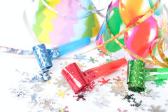 Party Items. Photo on the white background Royalty Free Stock Image