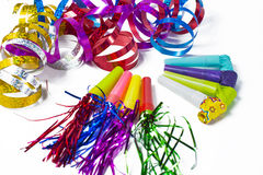 Party items, blowers and colorful streamer Stock Image