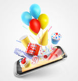 Party items flying out of the screen. On gray background royalty free stock photography