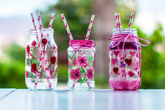 Party jars. Hand painted jars for the kinderball Stock Images