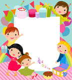 Party kids and banner Royalty Free Stock Images