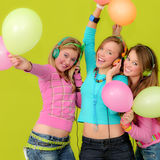 Party kids or teens. Kids teens teenagers or children with party balloons Royalty Free Stock Photos