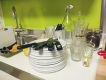 After party kitchen. Situation before cleaning Royalty Free Stock Photo