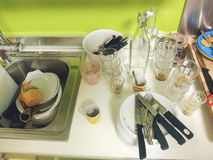 After party kitchen. Situation before cleaning Royalty Free Stock Image