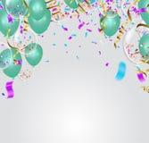 Party la decoración Balones de aire, confeti y serpentina en blanco Ilustración del Vector