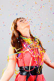 Party a la mujer del confeti de la danza fotografía de archivo libre de regalías