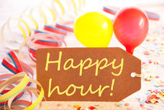 Party Label, Balloon, Streamer, Text Happy Hour Royalty Free Stock Photography