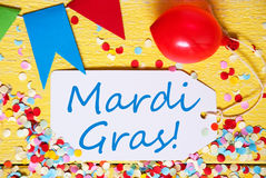 Party Label With Balloon, Text Mardi Gras, Macro Royalty Free Stock Images