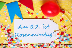 Party Label With Balloon, Text Rosenmontag Means Carnival, Macro Stock Images