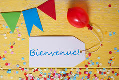 Party Label, Confetti, Balloon, Bienvenue Means Welcome Royalty Free Stock Photos