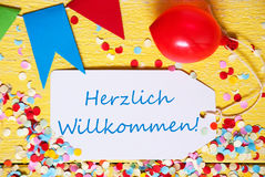Party Label, Red Balloon, Herzlich Willkommen Means Welcome Stock Images