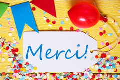 Party Label, Red Balloon, Merci Means Thank You Stock Photo