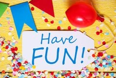 Party Label, Red Balloon, Text Have Fun Royalty Free Stock Photos
