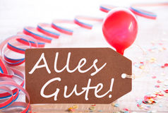Party Label With Streamer, Balloon, Alles Gute Means Best Wishes Stock Photo