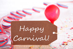 Party Label With Streamer And Balloon, Text Happy Carnival Royalty Free Stock Images