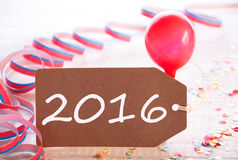 Party Label With Streamer And Balloon, Text 2016 Stock Photos