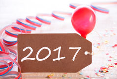 Party Label With Streamer, Balloon, Text 2017 Stock Photo