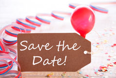 Party Label With Streamer, Balloon, Text Save The Date Royalty Free Stock Photo