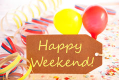Party Label, Streamer And Balloon, Yellow Text Happy Weekend Stock Image