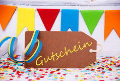 Party Label With Streamer, Text Gutschein Means Voucher Royalty Free Stock Image