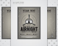Party Leaflet, airplane brochures, cover, club night page layout templates. Halftone dotted design, retro minimalistic Royalty Free Stock Image