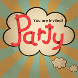 Party lettering design with speech bubble on vintage grunge background. Stock Images