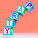 Party Letters Mean Celebration Event Or Socializing Stock Photos