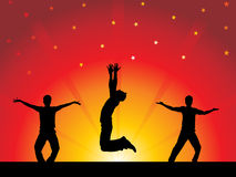 Party-Leute mit bunten Leuchten - Tanz Lizenzfreies Stockbild