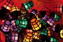 Party Lights. Lit party lights in a plastic container royalty free stock photo