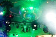 Party lights with disco ball Stock Image