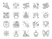Party line icon set. Included icons as celebrate, celebration, dancing, music, congrats and more. stock illustration
