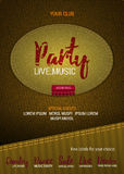 Party Live Music flyer or banner with denim background.   Stock Photos