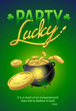 Party Lucky Poster, Saint Patrick's Day Typographical Background Stock Photography