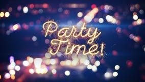 Party luzes do bokeh do texto e da cidade do chuveirinho do tempo Imagens de Stock